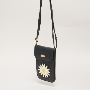 Missy Applique Detail Cell Phone Bag with Adjustable Strap