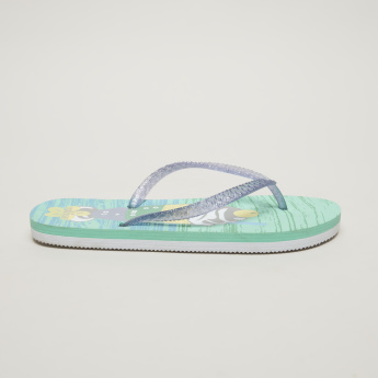Little Missy Printed Flip Flops with Glitter Strap