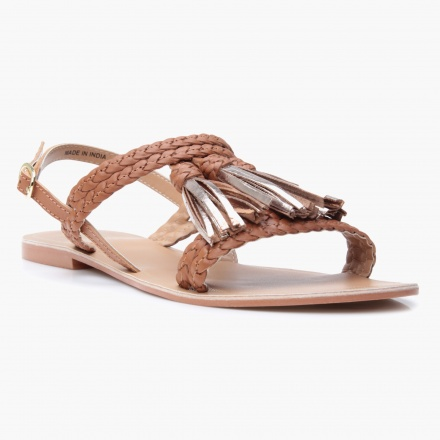 Paprika Buckled Flat Sandals