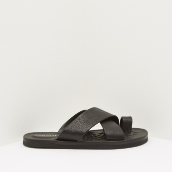 Slip-On Toe Ring Sandals with Cross Straps