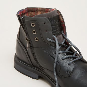 Lee Cooper High Top Shoes with Zip and Lace-Up Closure