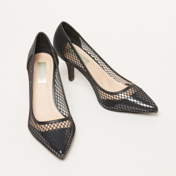 Cutout Detail Slip-On Shoes with Kitten Heels