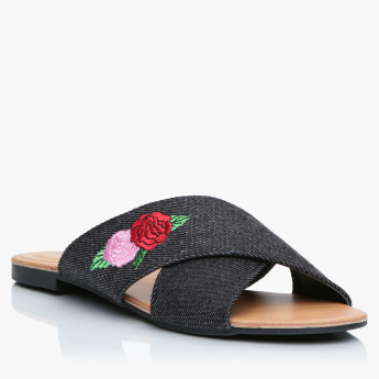 Missy Embroidered Cross Strap Slides