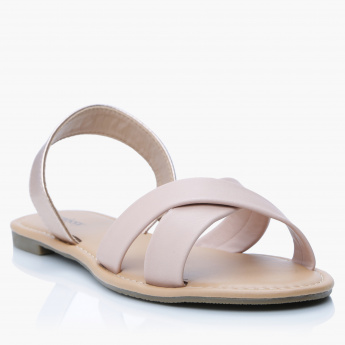 Missy Slip-On Sandals with  Cross Strap