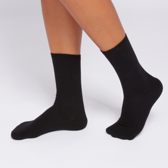 Crew Length Socks with Ribbed Texture - Set of 3