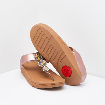 FitFlop Thong Slippers with Slip-On Closure and Circular Accent