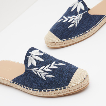 Denim Mules with Floral Embroidery
