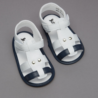 Juniors Stitch Detail Sandals with Hook and Loop Closure