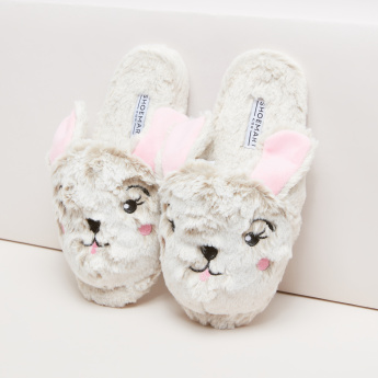 Plush Bedroom Slides with Embroidered Face and Ear Detail