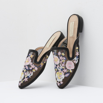Embroidered Mules with Slip-On Closure