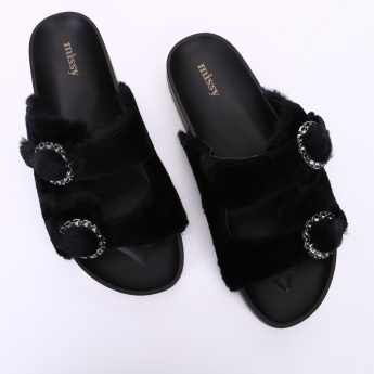 Missy Slides with Plush Detail