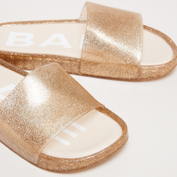Glitter Slides with Printed Footbed