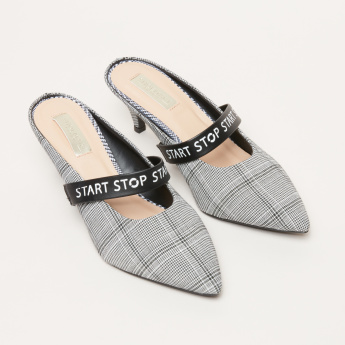 Chequered Mules with Kitten Heels and Printed Strap