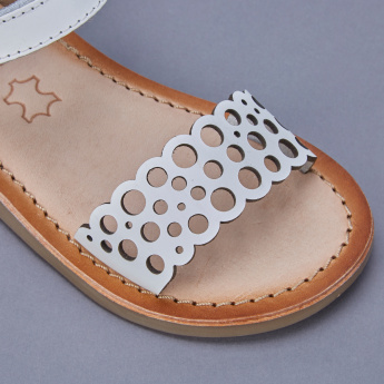 Barefeet Laser Cut Detail Sandals with Hook and Loop Closure
