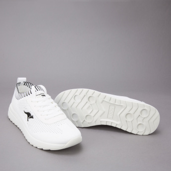 KangaROOS Textured Sneakers with Applique Detail