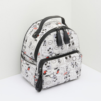 Mickey and Minnie Mouse Printed Backpack with Zip Closure