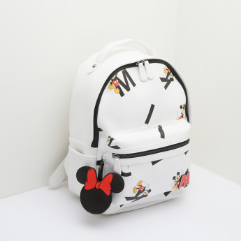 Mickey Mouse Printed Backpack with Charm