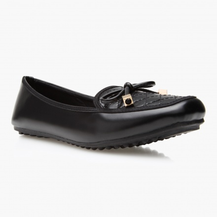 Jane Shilton Quilted Loafers with Bow Accent