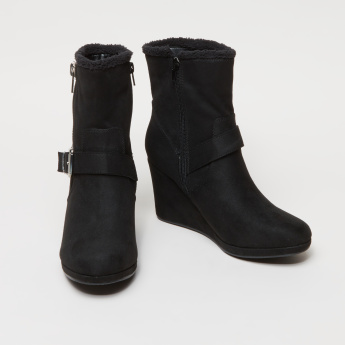 Wedge Heel Boots with Plush Detail