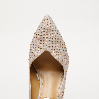 Studded Slip-On Knot Detail with Stiletto Heels