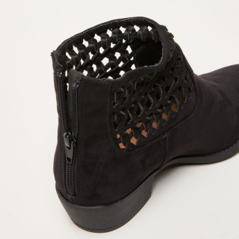 Weave Pattern High Top Shoes with Zip Closure