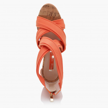 Paprika Cross Strap Wedges with Zip Closure
