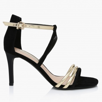 Paprika High Heel Sandals with Buckle Closure