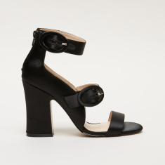 dfb8447ebdc37 Elle Block Heel Sandals with Ankle Strap and Buckle Closure