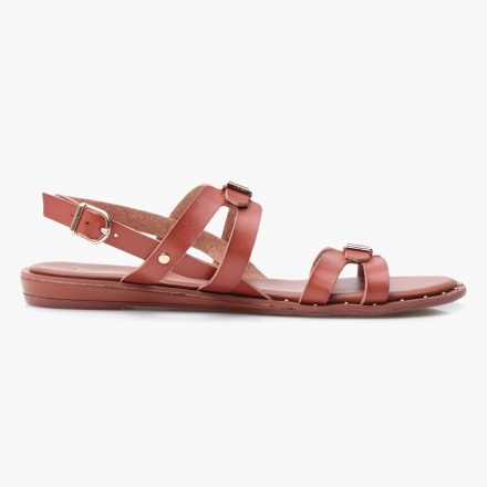 Paprika Strappy Buckle Sandals