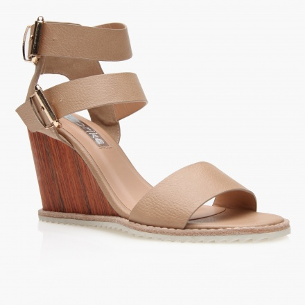 Paprika Buckled Wedge Sandals