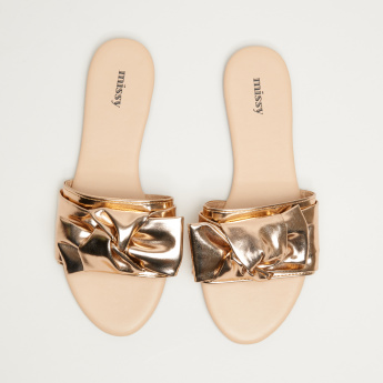 Missy Slides with Bow Applique