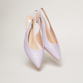 Slingback Slip-On Pumps with Kitten Heels