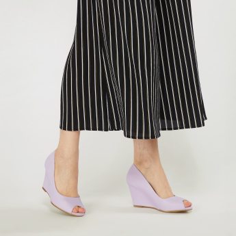 Peep Toe Sandals with Mid Wedge Soles