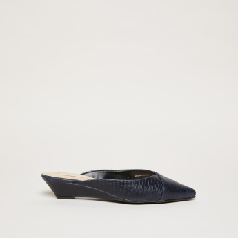 Animal Skin Texture Slip-On Mules