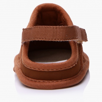 Juniors Hook and Loop Shoes with Drawstring Detail