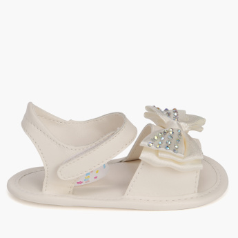 Juniors Studded and Bow Detail Sandals with Hook and Loop Closure