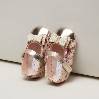 Juniors Pearl Detail Ballerina Shoes with Floral Print