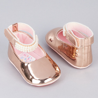 Juniors Embellished Pearl Detail Booties with Hook and Loop Closure