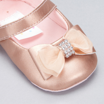 Juniors Bow Detail Mary Jane Shoes with Hook and Loop Closure