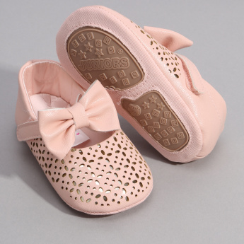 Juniors Laser Cut and Bow Detail Booties with Hook and Loop Closure