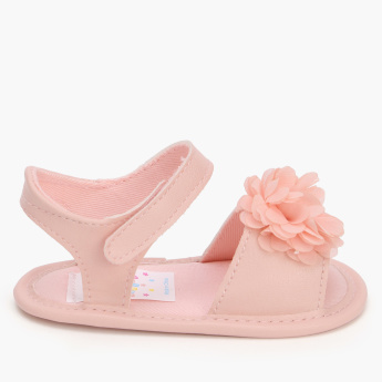 Juniors Flower Detail Sandals with Hook and Loop Closure