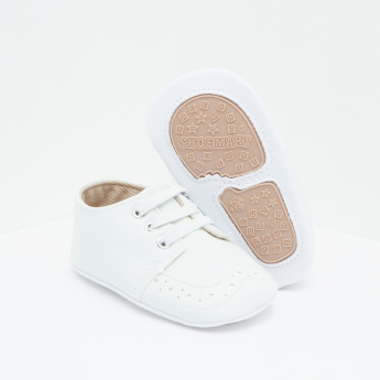 Perforated Slip-On Shoes with Lace-Up Detail
