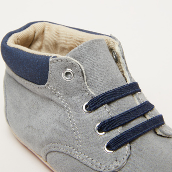 Textured High Top Shoes with Lace Detail