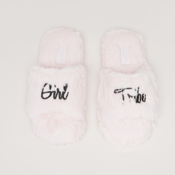 Plush Bedroom Slides with Embroidery Detail