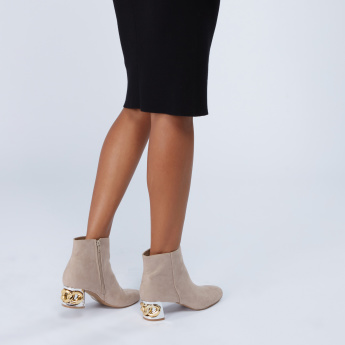 Textured Boots with Block Heels