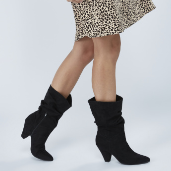 Mid Heel Boots with Ruching and Zip Detail