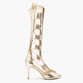 Celeste Laser Cut Gladiator Heel Shoes