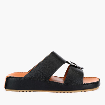 Duchini Textured Arabic Sandals with Buckle Detail
