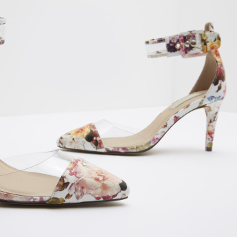 Floral Print Ankle Strap Stilettos with Buckle Closure