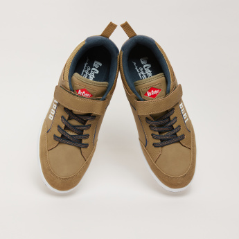 Lee Cooper Printed Sneakers with Hook and Loop Closure and Lace Detail